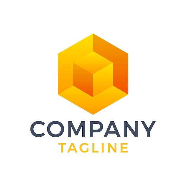 Abstract modern 3d doos zeshoekig geometrisch, oranje kubusgradiënt logo-ontwerp