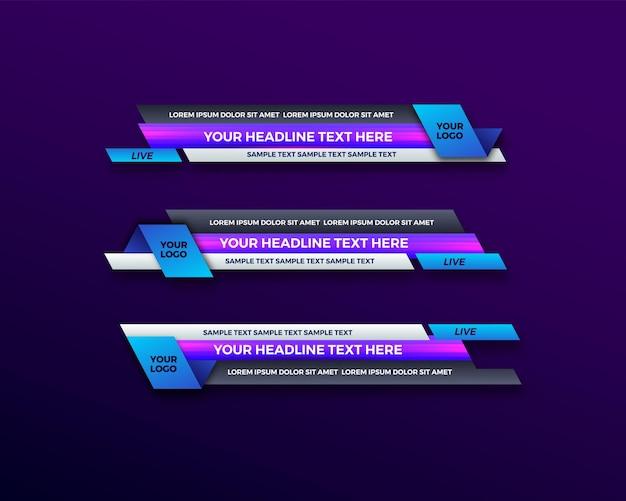 Abstract modern geometrisch onderste derde banner sjabloonontwerp voor uitzending, live, streaming, nieuwsvideo, interfacesjabloon.
