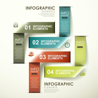 Abstract modern glanzend label dat infographic elementen vouwt