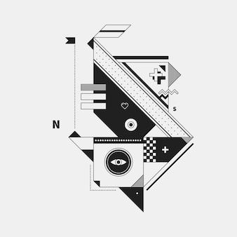 Abstract monochroom schepsel op witte achtergrond. stijl van kubisme en constructivisme. nuttig voor afdrukken en posters.