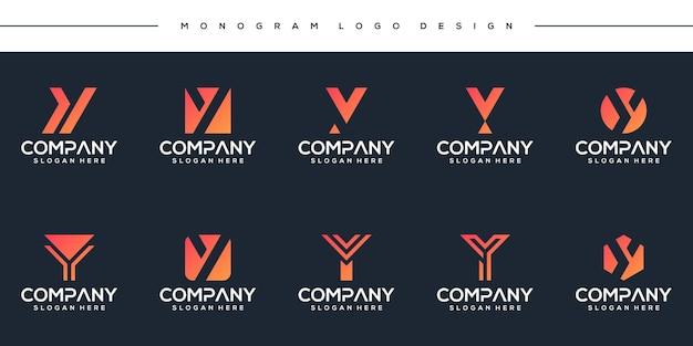 Abstract monogram letter y logo-ontwerp instellen Premium Vector