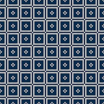 Abstract naadloos breien blauw patroon. gebreide wollen trui design. wol gebreide textuur imitatie.