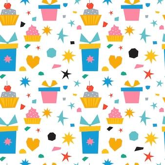 Abstract naadloos collagepatroon met doosgiften en snoepjes.