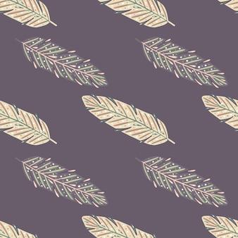 Abstract naadloos krabbelpatroon met eenvoudige veerelementen.