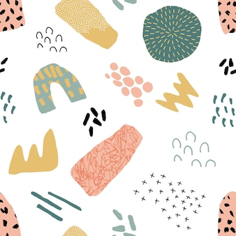Abstract naadloos patroon in trendy stijl met botanische en geometrische elementen, texturen