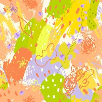 Abstract naadloos patroon met de texturen van penseelstreken in de stijl van memphis in helder