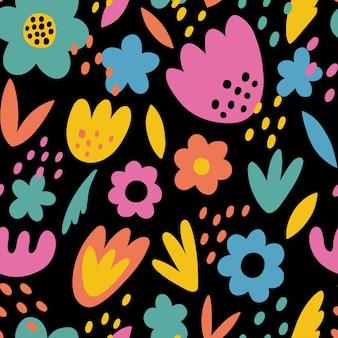 Abstract naadloos patroon met eenvoudige handgetekende elementen doodle figuren en abstracte bloemen
