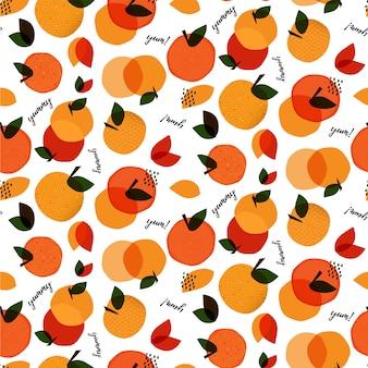 Abstract naadloos patroon met fruit en woorden yum en yummy. hand getrokken textuur.
