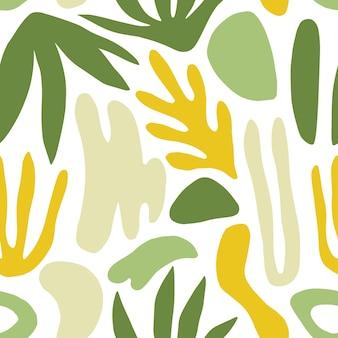 Abstract naadloos patroon met groene vormen of tekens en exotische bladeren op witte achtergrond. moderne kleurrijke vectorillustratie in vlakke stijl voor inpakpapier, behang, achtergrond, textieldruk.