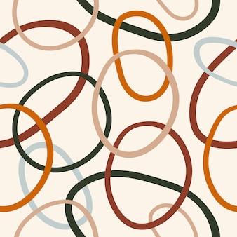 Abstract naadloos patroon met kleurrijke rondingen die ringen of cirkels verweven op pastelachtergrond