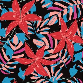 Abstract naadloos patroon met kleurrijke tropische bladeren en installaties op zwarte achtergrond