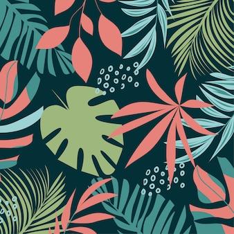 Abstract naadloos patroon met kleurrijke tropische bladeren en installaties