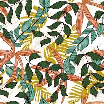 Abstract naadloos patroon met kleurrijke tropische bladeren en planten op een delicate