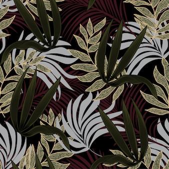 Abstract naadloos patroon met kleurrijke tropische bladeren en planten op zwarte achtergrond
