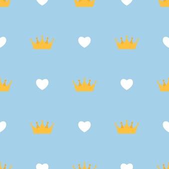 Abstract naadloos patroon met koningskronen en harten