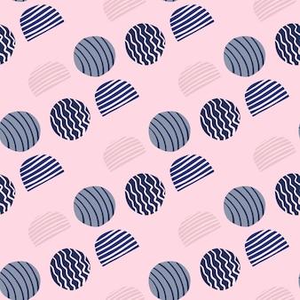 Abstract naadloos patroon met krabbelcirkels. marineblauwe gestripte elementen op zachte lichte achtergrond.