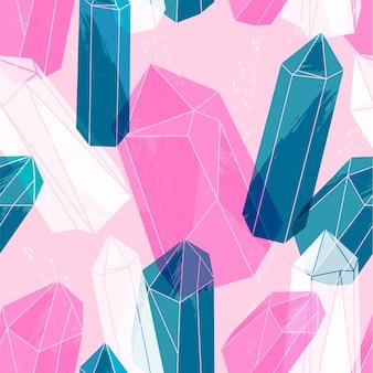 Abstract naadloos patroon met kristallen.