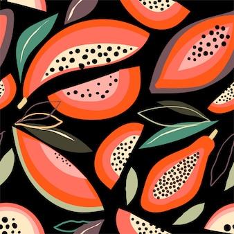 Abstract naadloos patroon met papaja