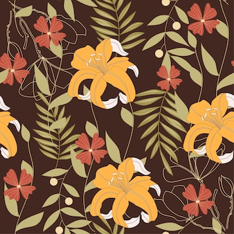 Abstract naadloos patroon met tropische bladeren
