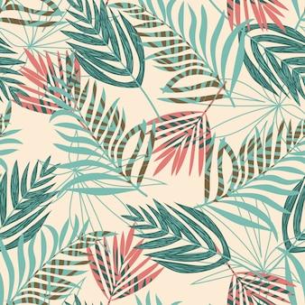 Abstract naadloos patroon met tropische planten