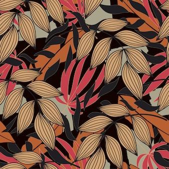 Abstract naadloos patroon met tropische vegetatie