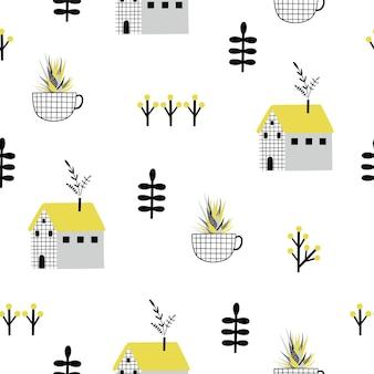 Abstract naadloos patroon met veerelementen.