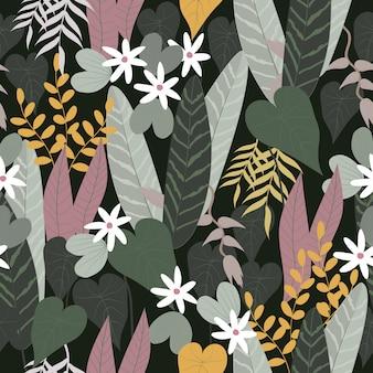 Abstract naadloos tropisch bloemenoppervlaktepatroon