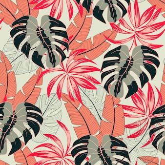 Abstract naadloos tropisch patroon met heldere planten en bladeren