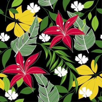 Abstract naadloos tropisch patroon met kleurrijke bladeren, installaties en bloemen