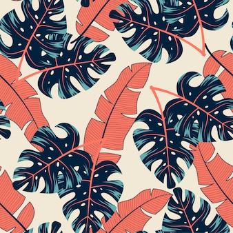 Abstract naadloos tropisch patroon met kleurrijke planten en bladeren op een beige achtergrond