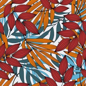 Abstract naadloos tropisch patroon met planten