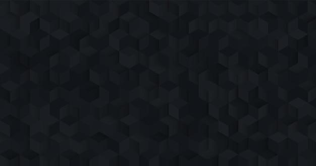 Abstract naadloos zwart vierkant 3d patroon achtergrond modern geometrisch zeshoek textuur ontwerp