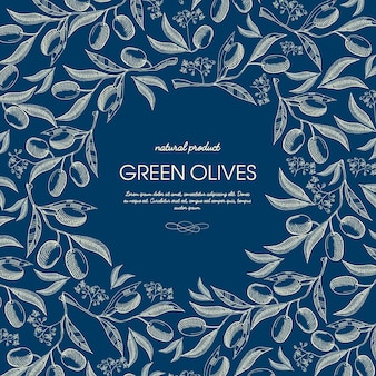 Abstract natuurproduct schets sjabloon met tekst en groene olijftakken op blauw