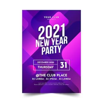Abstract nieuwjaar 2021 partij poster sjabloon