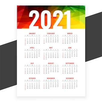 Abstract nieuwjaar kleuren kalendersjabloon