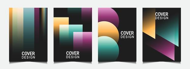 Abstract omslagontwerp met kleurrijke lijn op donkere achtergrond instellen