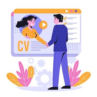 Abstract online sollicitatiegesprek concept geïllustreerd