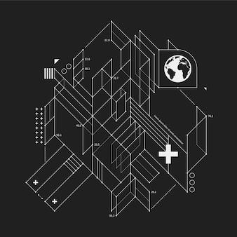 Abstract ontwerp element in ontwerp stijl op zwarte achtergrond. nuttig voor techno prints en posters.