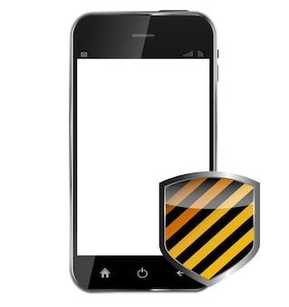 Abstract ontwerp realistische mobiele telefoon met beschermend schild dat op witte achtergrond wordt geïsoleerd. vectorillustratie