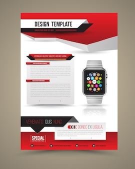 Abstract ontwerp vector sjabloon lay-out met slimme horloge