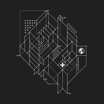 Abstract ontwerpelement in ontwerpstijl op zwarte achtergrond. handig voor technoprints en posters.