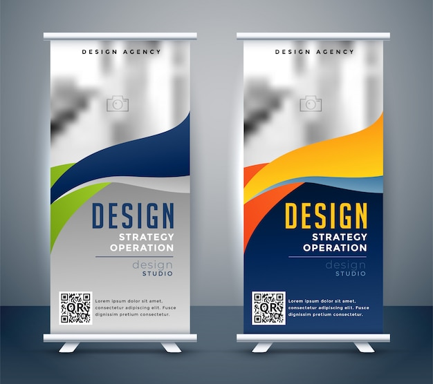 Abstract oprolbaar banner stand-alone ontwerp