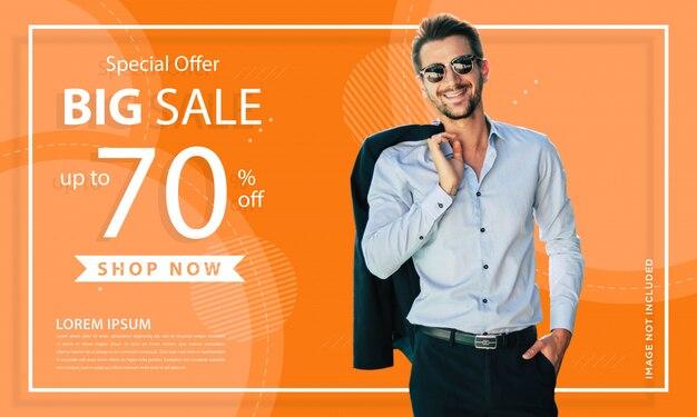 Abstract oranje mode verkoop sjabloon voor spandoek