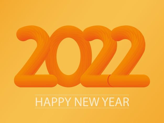 Abstract oranje nieuw 2022 jaarnummer op oranje achtergrond.