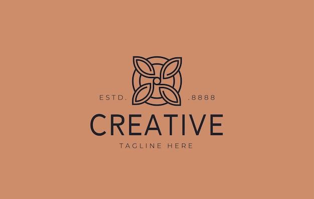 Abstract ornament bloem logo-ontwerp vectorillustratie van abstracte symmetrische bloemen
