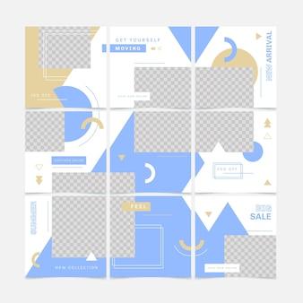 Abstract pakket met posts over puzzelfeed op sociale media