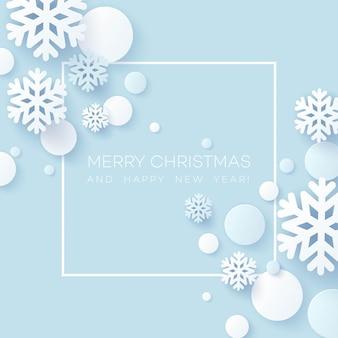 Abstract papercraft sneeuwvlokken kerstmis achtergrond.