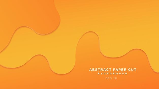 Abstract papier gesneden achtergrond met oranje golven