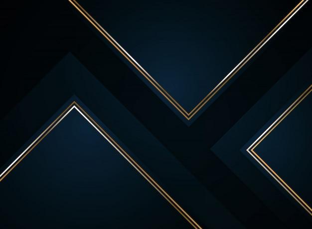 Abstract papier gesneden gradiënt donkerblauw met goud.