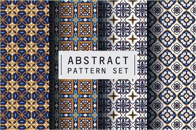 Abstract patroon ingesteld met batik motief achtergrond